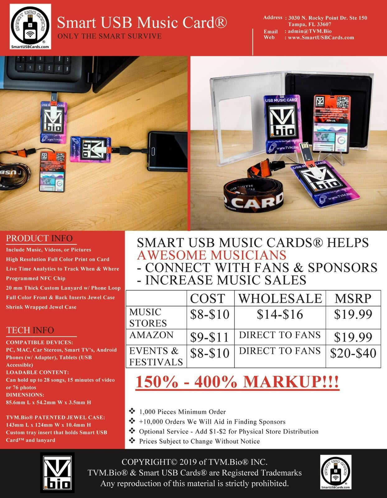 USB Music Card for music concerts, festivals, tours, and live events